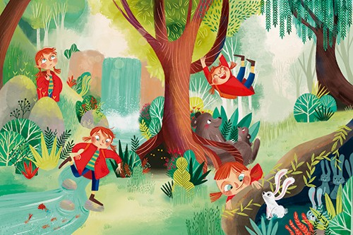 Laia Berloso Clara Illustration - Laia Berloso Clarà, digital, watercolour, traditional, colour, colourful, fiction, picture book, jungle, forest, waterfall, trees, character, girl, playing, adventure, stream, water, bears, baby, hearts, love, friends, family, swing, branch, play, fun, ra
