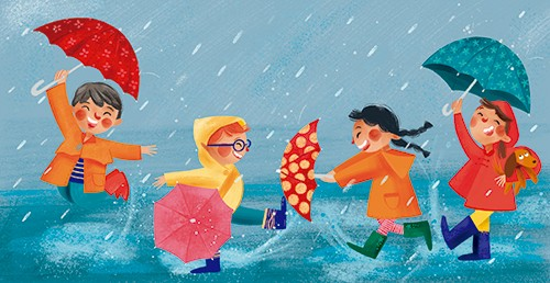 Laia Berloso Clara Illustration - Laia Berloso Clarà, illustrator, digital, watercolour, pastels, traditional, colour, colourful, fiction, picture book, characters, children, boys, girls, kids, rain, weather, water, raining, umbrellas, puddles, playing, fun, happy, seasons,