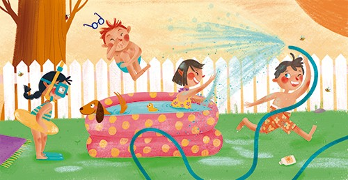 Laia Berloso Clara Illustration - Laia Berloso Clarà, illustrator, digital, watercolour, pastels, traditional, colour, colourful, fiction, picture book, characters, children, boys, girls, kids, weather, water, fun, happy, seasons, summer, hose, pool, swimming, dog, pet, cute, playing,