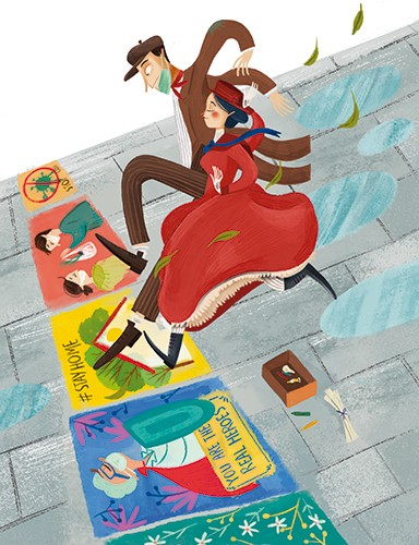 Laia Berloso Clara Illustration - Laia Berloso Clarà, illustrator, digital, watercolour, pastels, traditional, colour, colourful, fiction, picture book, classic, story, mary poppins, characters, bert, man, woman, painting, drawings, chalk, jumping, adventure, magic, street, puddles,