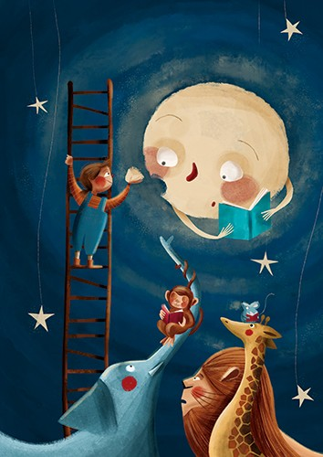 Laia Berloso Clara Illustration - Laia Berloso Clarà, illustrator, digital, watercolour, pastels, traditional, colour, colourful, fiction, picture book, moon, face, paintbrush, painting, girl, character, child, ladder,  stars, sky, night, animals, wild, book, reading, arts and crafts,