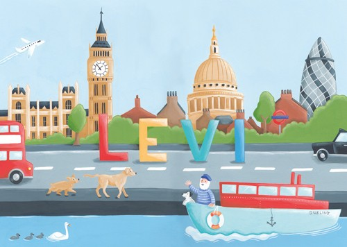 Lucy Boden Illustration - lucy, boden, lucy boden, novelty, mass market, commercial, acrylic, painted, picture book, fiction, animals, dogs, london, england, big ben, St Pauls catherdral,, cathedral, church, boat, person, figure, figurative, man, house boat, dog, pet, water, river