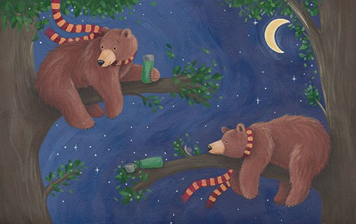Lucy Boden Illustration - lucy, boden, lucy boden, novelty, mass market, commercial, acrylic, painted, picture book, fiction, animals, pets, wildlife, bears, night, sky, trees, leave, branches, scarves, scarf, cute, sweet, moon, stars, sleep, tired,