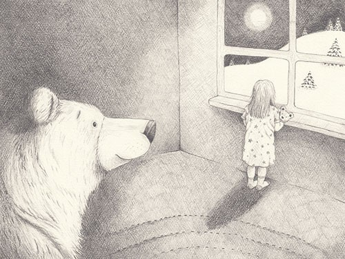 Lucy Boden Illustration - lucy, boden, lucy boden, novelty, mass market, commercial, acrylic, painted, picture book, fiction, animals, pets, wildlife, bear, black and white, b & w, girl, bedroom, window, moon, sky, night, sketch, cross hatch, snow, winter, weather, seasonal, festi