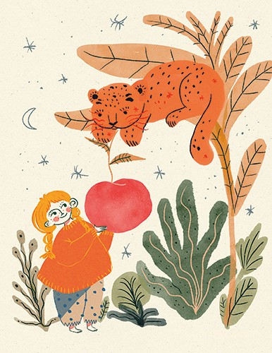 Lana Neble Illustration - lana neble, drawing, pencil, handdrawn, digital, texture, colour, colourful, character, girl, animal, wild, nature, cheetah, leopard, stars, night, sky, moon, tree, leaves, plants, flowers, fruit, giant, sharing, food, cute, friends,