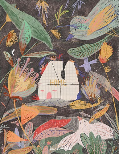 Lana Neble Illustration - lana neble, drawing, pencil, handdrawn, digital, texture, colour, colourful, house, home, building, plants, flowers, floral, leaves, birds, animals, wild, flying, wings, nature, collage, scribble,
