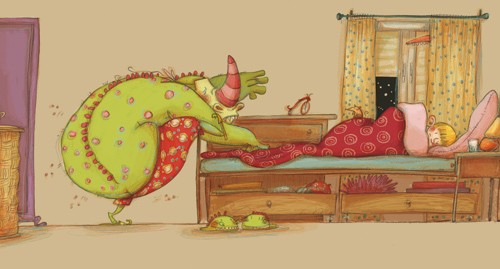 Lucia Serrano Illustration - lucia serrano, lucia, serrano, drawing, digital, commercial, fiction, picture book, educational, monsters, animals, creatures, children, bed, sleeping