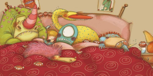 Lucia Serrano Illustration - lucia serrano, lucia, serrano, drawing, digital, commercial, fiction, picture book, educational, monsters, creatures, aliens, bed, bedtime, sleeping