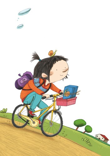 Lucia Serrano Illustration - lucia serrano, lucia, serrano, drawing, digital, commercial, fiction, picture book, educational, people, children, girls, bike, cycling, cycle, bicycle