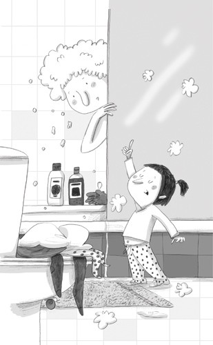 Lucia Serrano Illustration - lucia serrano, lucia, serrano, drawing, digital, commercial, fiction, picture book, educational, people, children,girls, mum, mummy, mother, bathroom, black and white, black line
