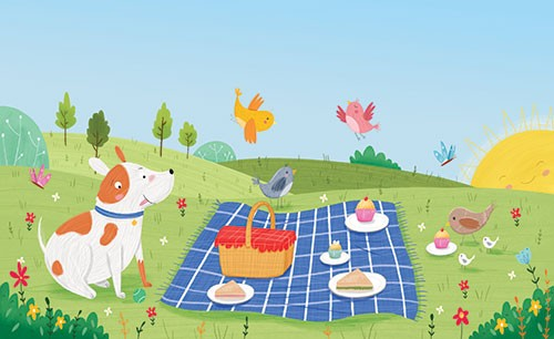 Louise Wright Illustration - louise, wright, louise wright, texture, mixed media, traditional, digital, photoshop, illustrator, trade, mass market, picture book, dog, pet, picnic, summer, park, field, gras,s play, food, cloth, sun, birds, cake, sandwiches, trees, plants, detail