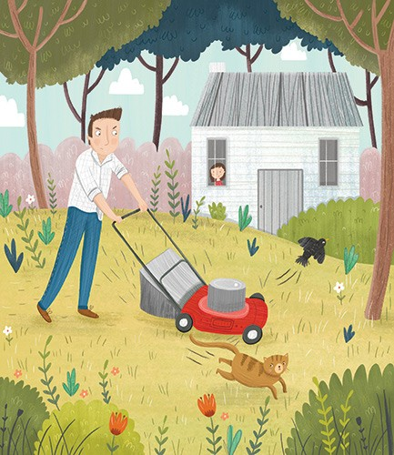 Louise Wright Illustration - louise, wright, louise wright, texture, mixed media, traditional, digital, photoshop, illustrator, trade, mass market, picture book, man, dad, people, mowing, lawn, garden, grass, angry, flowers, trees, house, daughter, girl, cat, bird