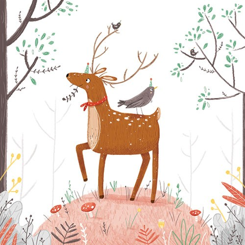 Louise Wright Illustration - louise, wright, louise wright, texture, mixed media, traditional, digital, photoshop, illustrator, trade, mass market, picture book, deer, antlers, animals, wildlife, mushrooms, hats, bird, forest, floor, woods, flowers, plants, trees, detail,