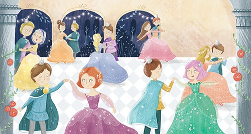 Louise Wright Illustration - louise, wright, louise wright, texture, mixed media, traditional, digital, photoshop, illustrator, trade, mass market, picture book, people, men, man, boys, boy, women, girls, woman, girl, ball, dance, dresses, prince, fairytale