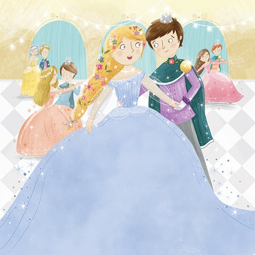 Louise Wright Illustration - louise, wright, louise wright, texture, mixed media, traditional, digital, photoshop, illustrator, trade, mass market, picture book, people, man, woman, ball, dance, dress, prince, princess, fairytale