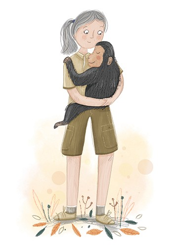 Louise Wright Illustration - louise, wright, louise wright, texture, mixed media, traditional, digital, photoshop, illustrator, trade, mass market, picture book, people, women, girls, woman, girl, influential, educational, monkey, animals, jungle, jane goodall, great, great women, sc