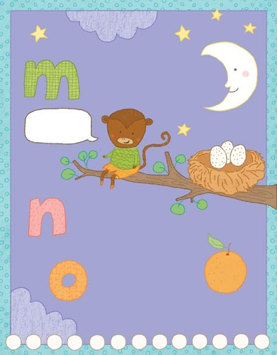 Marina Aizen Illustration - marina aizen, marina, aizen, young, picture books, digital, puzzle, activity, photoshop, illustrator, trade, painted, educational, letters, alphabets, m, n, o, moons, night times, dark, purple, sky, stars, clouds, oranges, satsumas, nectarines, fruits, st