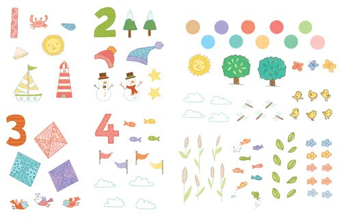 Marina Aizen Illustration - marina aizen, marina, aizen, young, picture books, digital, puzzle, activity, photoshop, illustrator, trade, painted, educational, numbers, one, two, three, four, kites, suns, sunny, weather, crabs, birds, wildlife, hats, bobble hats, stars, wooly, trees,