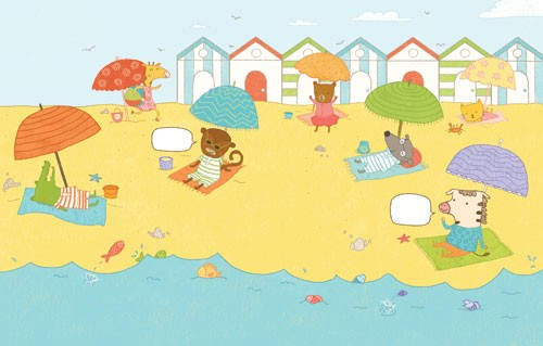 Marina Aizen Illustration - marina aizen, marina, aizen, young, picture books, digital, puzzle, activity, photoshop, illustrator, trade, painted, educational, seasides, beaches, seas, waters, beach huts, houses, homes, umbrella, sun umbrella, beach towels, mats, carpets, rugs, shell