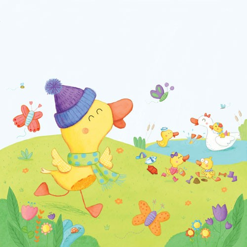 Marina Aizen Illustration - marina aizen, marina, aizen, young, picture books, fiction, trade, digital, young reader ,YA, cute sweet, duck, ducklings, animals, playing, play time, butterflies, insects, pond, colour, colourful, flowers