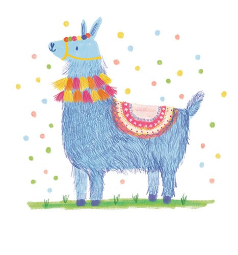 Marina Aizen Illustration - marina aizen, marina, aizen, young, picture books, fiction, trade, crayon, pattern, cute, sweet, digital, animal, wild, llama, hairy, fluffy, polka dots, colourful, rug, cute, sweet, aztec,