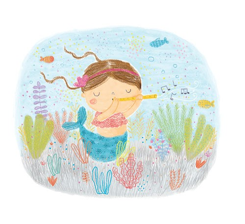Marina Aizen Illustration - marina aizen, marina, aizen, young, picture books, fiction, trade, crayon, pattern, cute, sweet, digital, colourful, mermaid, recorder, flute, music, notes, underwater, magical, fantasy, ocean, fish, tail, coral, reef, bubbles, hair, swim, plants, happy,