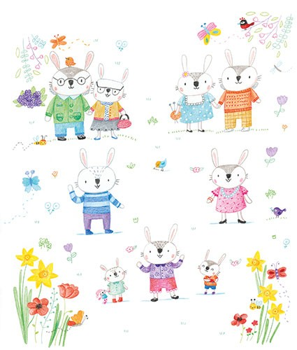 Marina Aizen Illustration - marina aizen, marina, aizen, young, picture books, fiction, trade, crayon, pattern, cute, sweet, digital, animals, wild, rabbits, bunnies, rabbit, bunny, family, children, parents, grandparents, flowers, birds, trees, plants, nature,