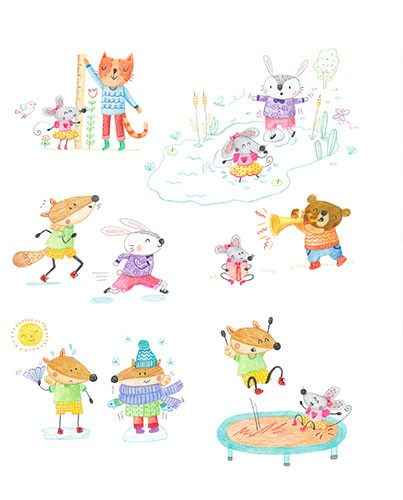 Marina Aizen Illustration - marina aizen, marina, aizen, young, picture books, fiction, trade, crayon, pattern, cute, sweet, digital, animals, cats, rabbit, mouse, bears, pond, water, instrument, trumpet, trampoline, fun, happy, playing, family,  hot, cold, weather, summer, winter,