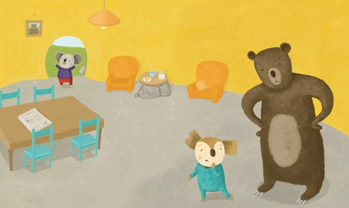 Marina Aizen Illustration - marina aizen, marina, aizen, young, picture books, digital, koala, koala bears, bears, friends, buddies, buddy, pals, homes, fiction, trade, brown bears, big bears, teddy bears, chairs, armchairs, sofas, tables, kitchen table, dining table, newspapers,