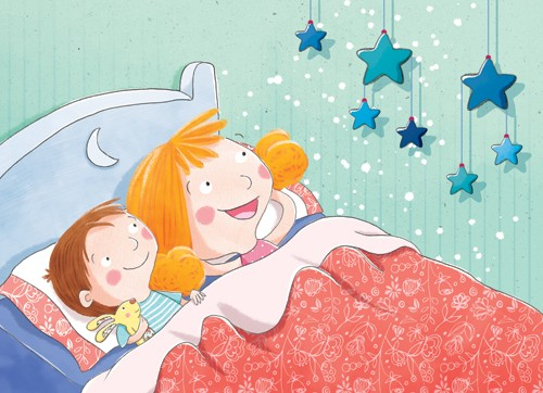 Marta Costa Illustration - marta, costa, marta costa, digital, commercial, educational, picture book, young reader, YA, colourful, colour, cute, sweet, boy, girl, children, child, person, people, figures, bed, bed time, bed room, pattern, mobile, stars, toy, teddy, bunny, rabbit
