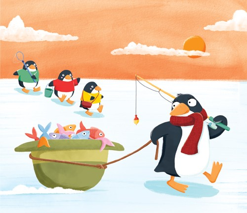 Marta Costa Illustration - marta, costa, marta costa, digital, commercial, educational, picture book, young reader, YA, colourful, colour, cute, sweet, animals, penguins, fish, fishing, cold, arctic, sky, clouds, sun, scarf