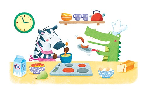 Marta Costa Illustration - marta, costa, marta costa, digital, commercial, educational, picture book, young reader, YA, colourful, colour, cute, sweet kitchen, crocodile, zebra, food, cooking, friends, fun, animals