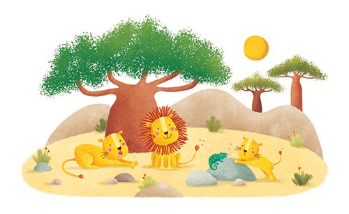Marta Costa Illustration - marta, costa, marta costa, digital, commercial, educational, picture book, young reader, YA, colourful, colour, cute, sweet, lion, animals, tree, safari