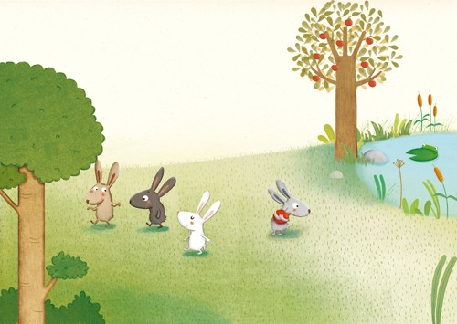 Marta Cabrol Illustration - marta cabrol, marta, cabrol, painted, digital, novelty, picture book, commercial, educational, sweet, young, fiction, acrylic, trade, outside, outdoors, lakes, ponds, waters, trees, bushes, shrubs, greenery, flowers, rabbits, bunnies, bunny, friends, pals