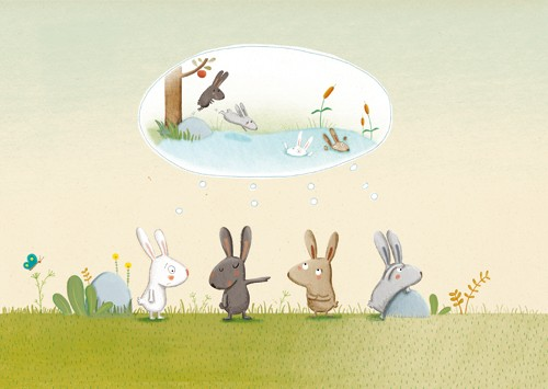 Marta Cabrol Illustration - marta cabrol, marta, cabrol, painted, digital, novelty, picture book, commercial, educational, sweet, young, fiction, acrylic, trade, outside, outdoors, lakes, ponds, waters, greenery, flowers, rabbits, bunnies, bunny, friends, pals, swimming, paddling, p