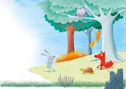 Marta Costa Illustration - marta, costa, marta costa, pencil, digital, commercial, educational, picture book, young reader, YA, colourful, colour, cute, sweet, animals, rabbit, hare, tortoise, owl, fox, squirrel, trees, fairytale, the hare and the tortoise, race, plants, flowers,