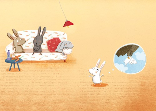 Marta Cabrol Illustration - marta cabrol, marta, cabrol, painted, digital, novelty, picture book, commercial, educational, sweet, young, fiction, acrylic, trade, rabbits, bunnies, bunny, friends, pals, homes, houses, sofas, chairs, lights, lampshades, carrots, vegetables, food, eati