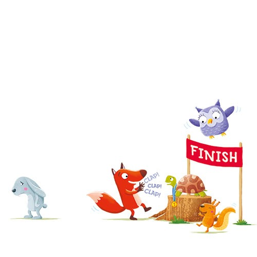 Marta Costa Illustration - marta, costa, marta costa, pencil, digital, commercial, educational, picture book, young reader, YA, colourful, colour, cute, sweet, animals, fairytale, the hare and the tortoise, hare, rabbit, owl, fox, tortoise, squirrel, medal, race, finish, wining, ha