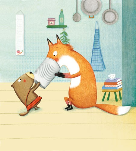 Marta Cabrol Illustration - marta cabrol, marta, cabrol, painted, digital, novelty, picture book, commercial, educational, sweet, young, fiction, acrylic, trade, young reader, YA, colour, colourful, animal, beaver, fox, indoors, room, cute, sweet, bucket, hat, pull, books, stool, po