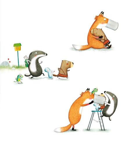 Marta Cabrol Illustration - marta cabrol, marta, cabrol, painted, digital, novelty, picture book, commercial, educational, sweet, young, fiction, acrylic, trade, young reader, YA, colour, colourful, animal, beaver,fox, hug, friendship, badger, frog, mouse, friends, rocks, flowers, l