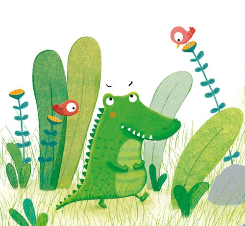 Marta Cabrol Illustration - marta cabrol, marta, cabrol, painted, digital, novelty, picture book, commercial, educational, sweet, young, fiction, acrylic, trade, young reader, YA, colour, colourful, animal, crocodile, birds, plants, grass, eyebrows, walking, happy, cute, flowers