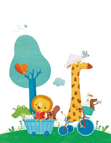 Marta Cabrol Illustration - marta cabrol, marta, cabrol, painted, digital, novelty, picture book, commercial, educational, sweet,cute,  young, fiction, acrylic, trade, young reader, YA, colour, colourful, animals, giraffe, crocodile, lion, beaver, ducks, squirrel, bird, mouse, bicyc
