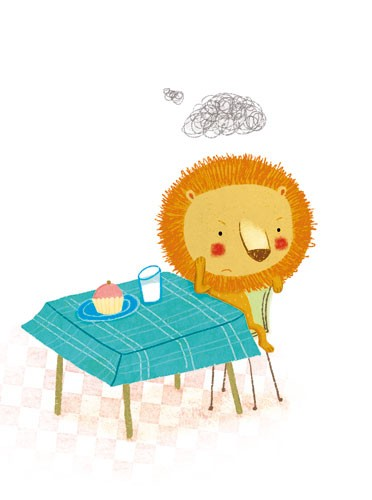 Marta Cabrol Illustration - marta cabrol, marta, cabrol, painted, digital, novelty, picture book, commercial, educational, sweet,cute,  young, fiction, acrylic, trade, young reader, YA, colour, colourful, animal, lion, grumpy, sad, angry, annoyed, sulky, food, clouds, scribbles, tab