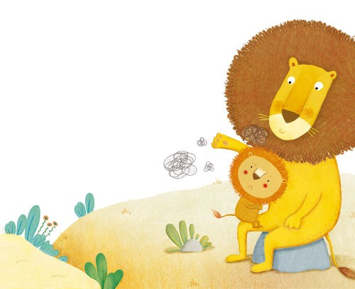 Marta Cabrol Illustration - marta cabrol, marta, cabrol, painted, digital, novelty, picture book, commercial, educational, sweet,cute,  young, fiction, acrylic, trade, young reader, YA, colour, colourful, animal, lion, lion cub, baby, mummy, mum, knee, comfort, cuddle, rocks, trees,