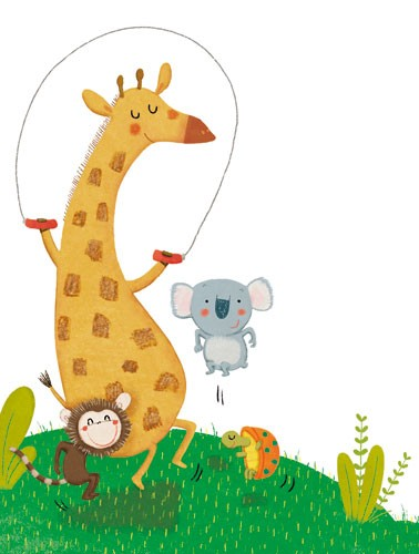 Marta Cabrol Illustration - marta cabrol, marta, cabrol, painted, digital, novelty, picture book, commercial, educational, sweet,cute,  young, fiction, acrylic, trade, young reader, YA, colour, colourful, animal, giraffe, turtle, monkey, koala, skipping, grass, plants, playing, play