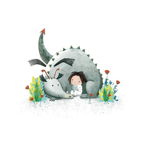 Marta Cabrol Illustration - marta cabrol, marta, cabrol, painted, digital, novelty, picture book, commercial, educational, sweet, young, fiction, acrylic, trade, YA, outdoors, flowers, friends, love, dragon, dragons, girl, pets, wildlife, grass, reading, book, books,