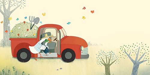 Marta Cabrol Illustration - marta cabrol, marta, cabrol, painted, digital, novelty, picture book, commercial, educational, sweet, young, fiction, acrylic, trade, animals, family, parent, child, geese, goose, car, farmers, woods, field, nature, grass, trees, plants, spade, love,help