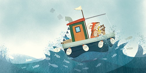 Marta Cabrol Illustration - marta cabrol, marta, cabrol, painted, digital, novelty, picture book, commercial, educational, sweet, young, fiction, acrylic, trade, animals, goats, goat, boat, sea, ocean, waves, fish, family, parent, child, love, help