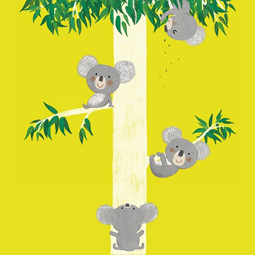 Marta Cabrol Illustration - marta cabrol, marta, cabrol, painted, digital, novelty, picture book, commercial, educational, sweet, young, fiction, acrylic, trade, tree, trees, koala, koalas, animals, cute, wildlife, wild