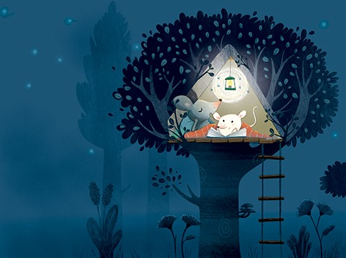 Marta Cabrol Illustration - marta cabrol, marta, cabrol, painted, digital, novelty, picture book, commercial, educational, sweet, young, fiction, acrylic, trade, family, animals, parent, child, love, help, mice, mouse, house, night, stars, tree, light, book, reading, dark,
